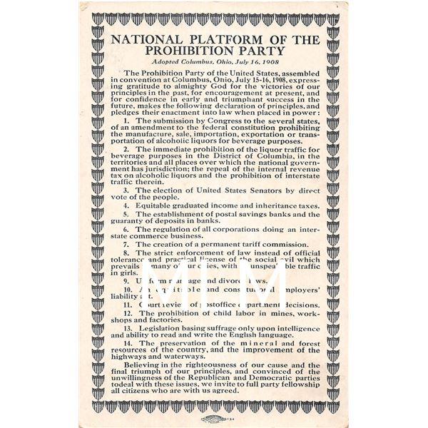 Platform of Prohibition Political Party Chafin & Watkins Postcard