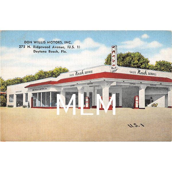 Don Willis Motors Gas Station Dealership Daytona Beach, FL Linen Postcard