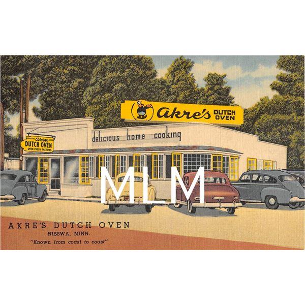 Akre's Dutch Oven Restaurant Nisswa, Minnesota Linen Postcard