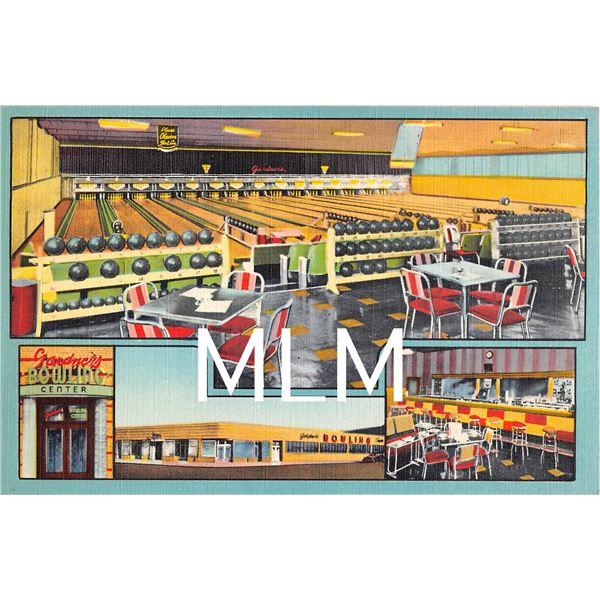 Gardner's Bowling Center Flatbush Brooklyn, New York Linen Postcard