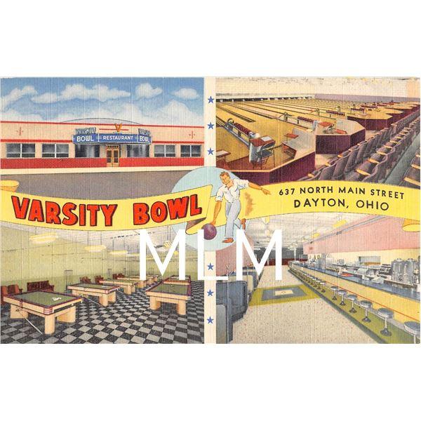 Varsity Bowl Dayton, Ohio 4 View Linen Postcard
