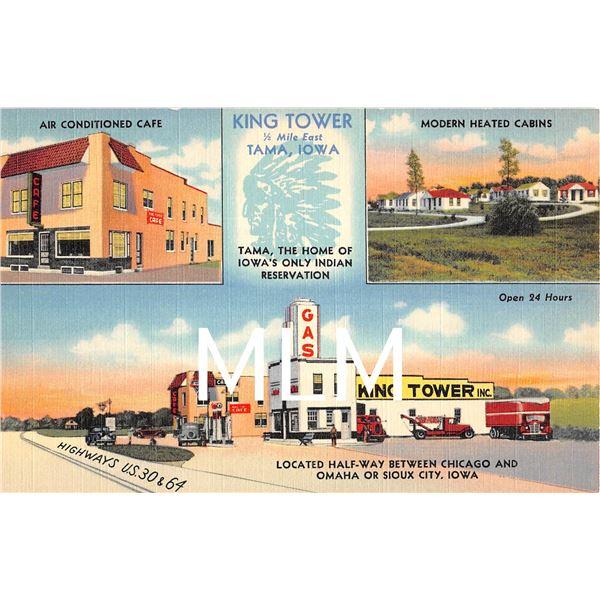 King Tower Gas Station Tama, Iowa Linen Postcard