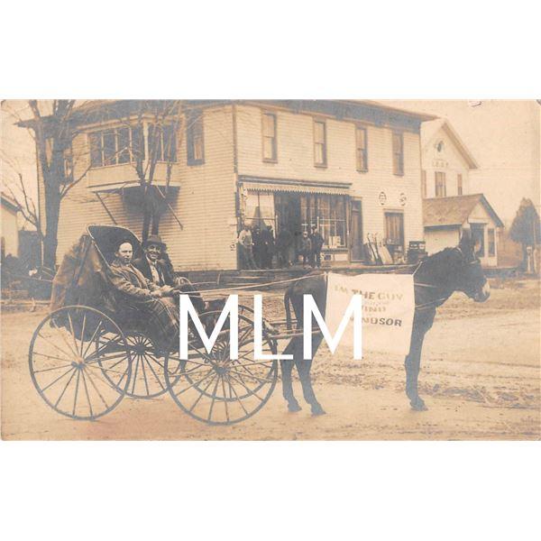 "Horse Wagon ""Guy who put the wind in Windsor"", Ohio Photo Postcard"