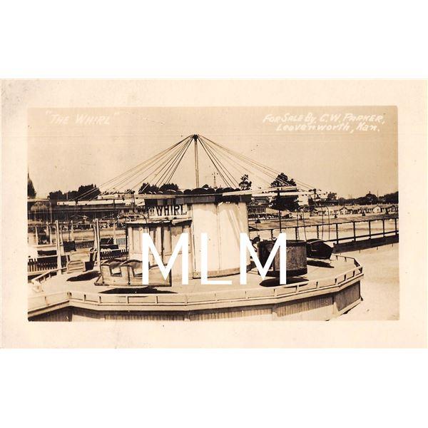 The Whirl  Amusement Park Ride for Sale CW Parker Leavenworth, KS Photo Postcard