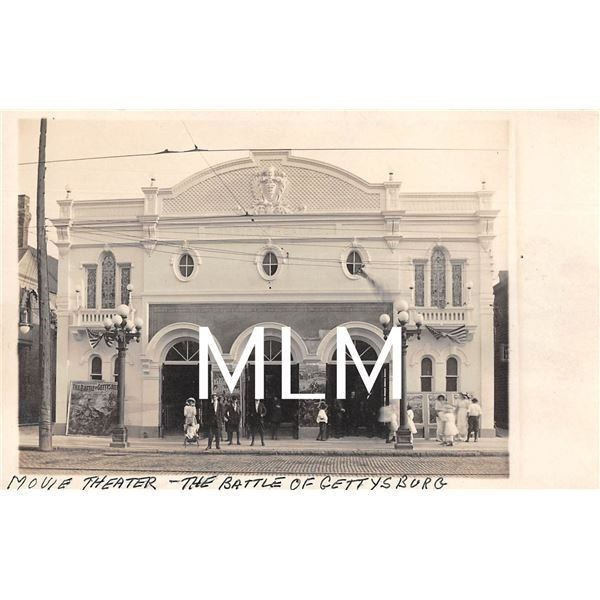 """Empire Movie Theater Front Showing """"The Battle Of Gettysburg"""" Photo Postcard"""