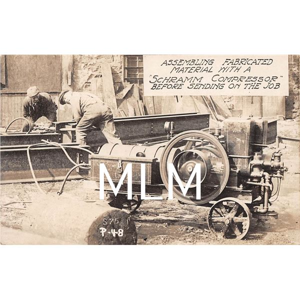 "Assembling ""Schramm Compressor"" Before Job Advertising West Chester PA Photo Postcard"