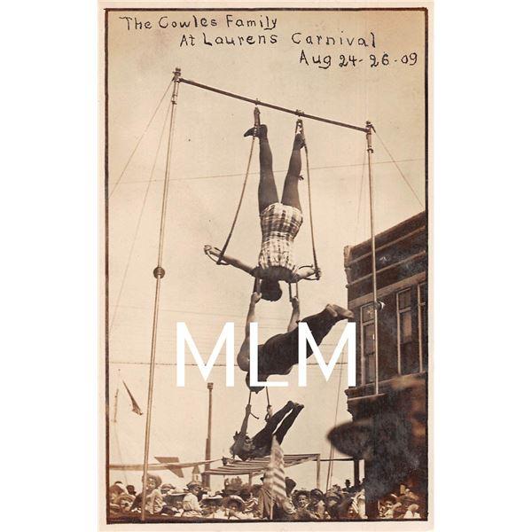 Carnival Amusement Cowles Family at Laurens Photo Postcard