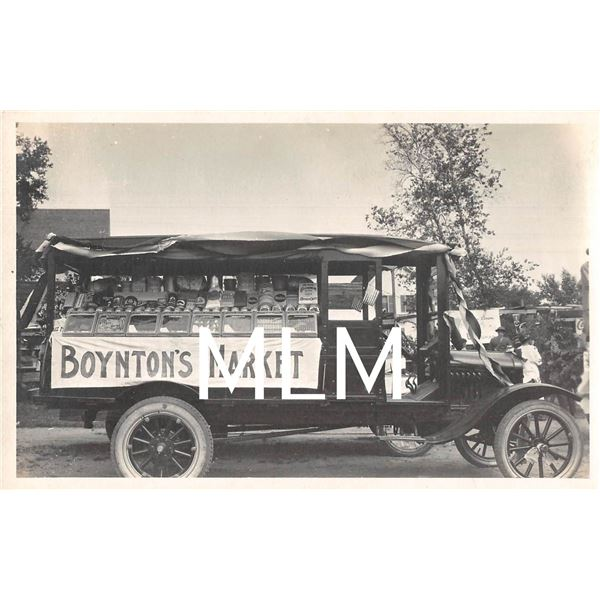 Boynton's Market Delivery Truck Displaying Products Photo Postcard