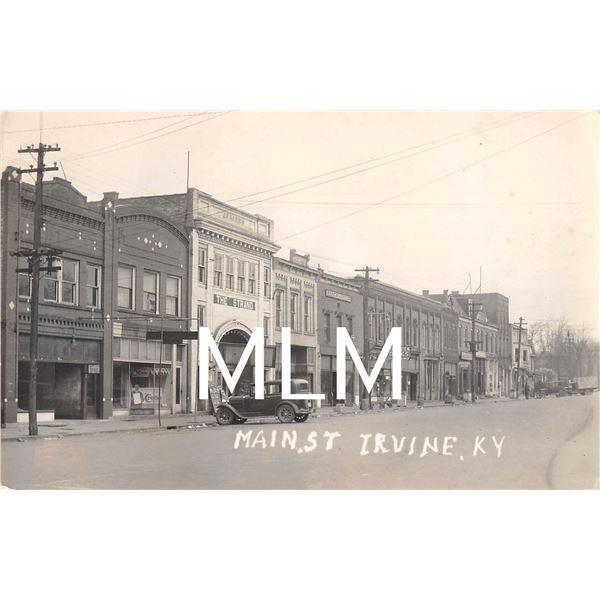 Main St. The Strand Theatre Irvine, Kentucky Photo Postcard