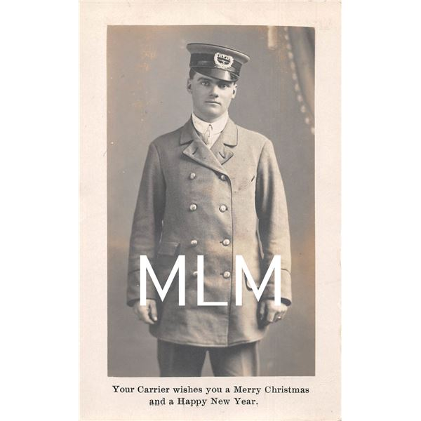 Your Postal Mail Carrier wishes Merry Christmas & Happy New Year Photo Postcard
