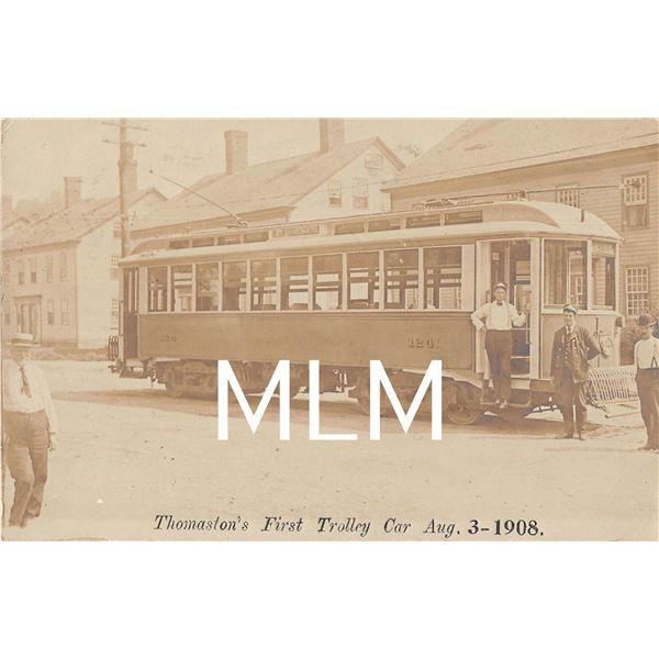 Thomaston's 1st Trolley Car 1908 Connecticut Photo Postcard.