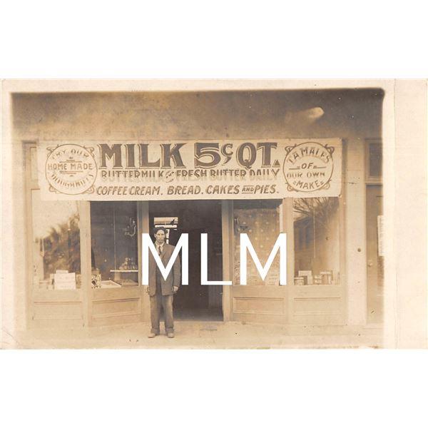 Store Front Milk 5 Cents Sacramento, California Photo Postcard