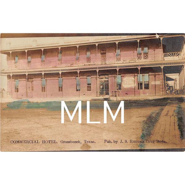 Commercial Hotel Groesbeeck, Texas Photo Postcard