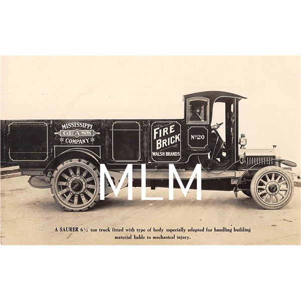 Saurer Motor Truck Advertising Truck in NYC Mississippi Glass Co on side Photo PC