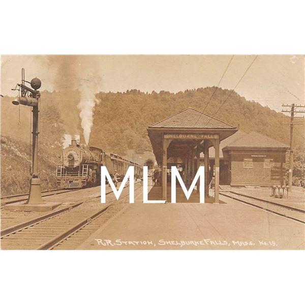 Train Coming to Station American Ex. Co. Shelburne Fall, Massachusetts Photo Postcard
