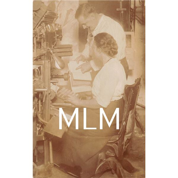 Interior Printers Linotype Operator Man & Woman Photo Postcard