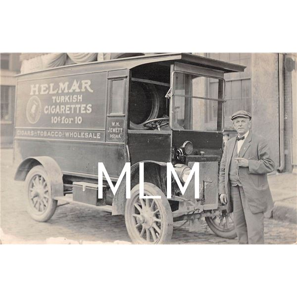 Helmar Turkish Cigaretts Delivery Truck Portland, ME Photo Postcard