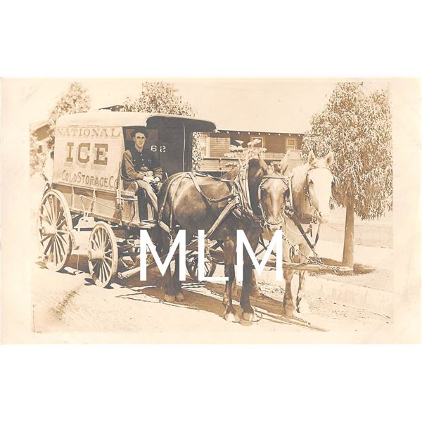 National Ice Cold Storage Co. Horse Drawn Delivery Wagon Photo Postcard