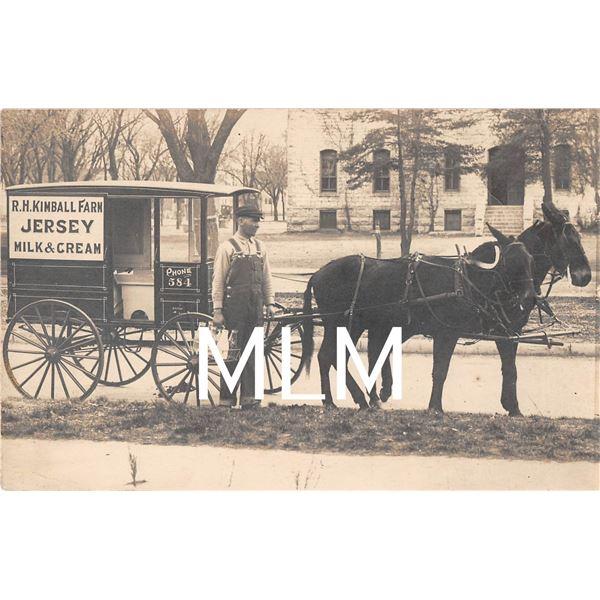 R.H. Kimball Farm Jersey Milk & Cream Delivery Wagon Man With Milk Photo Postcard