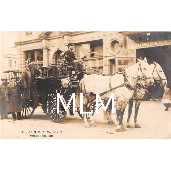 2 Frederick, Maryland Horse Drawn Fire Department Engine Photo Postcards