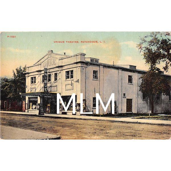 Unique Theatre, Patchogue Long Island Soda & Cones Sign Postcard