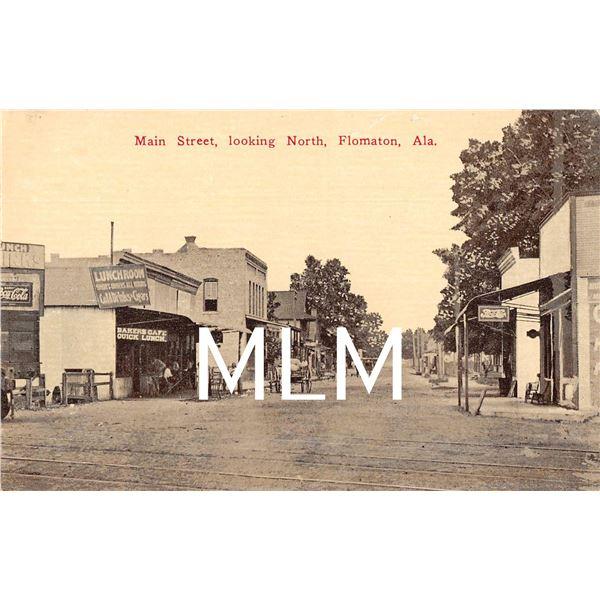 Main St. Flomaton, Alabama Stores Coca-cola & Pepsi Signs Postcard