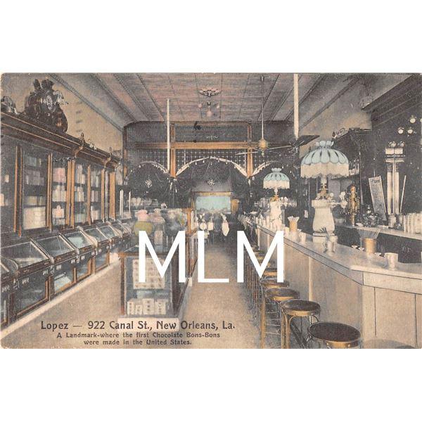 Lopez Candy Store & Soda Shop New Orleans, Louisana Postcard