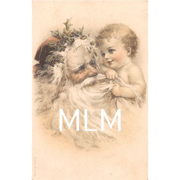 Santa Claus & Child in Beard Brundage Postcard