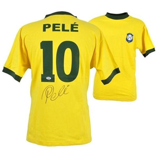 PELE BRAZIL AUTOGRAPHED JERSEY AUTHENTICATED BY PSA/DNA