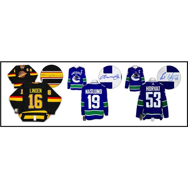 CANUCKS CAPTIANS/GENERATIONS - 3 OFFICIALLY LICENSED NHL JERESEYS