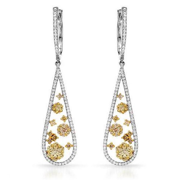 18k White Gold 1.86CTW Diamond Earrings, (SI1-SI2/VS2-SI1/G-H)