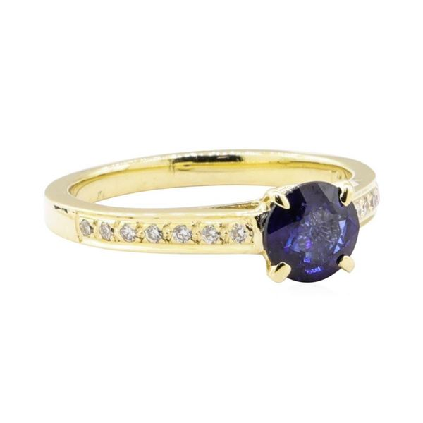 1.28 ctw Blue Sapphire and Diamond Ring - 14KT Yellow Gold