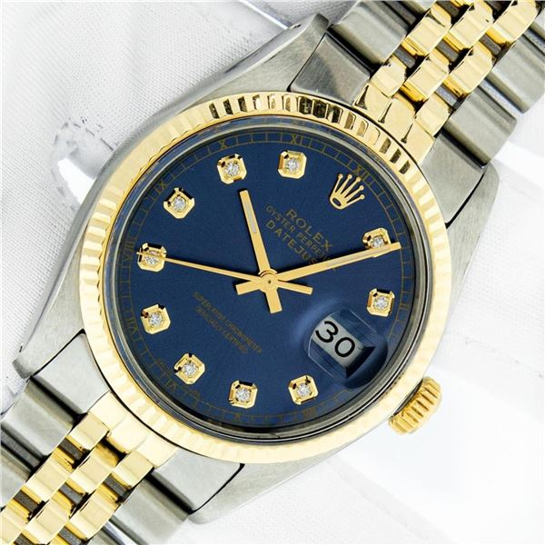 Rolex Mens 2 Tone Blue Diamond 36MM Oyster Perpetual Datejust Wristwatch With Ro