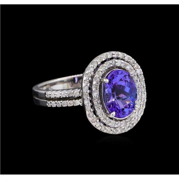 2.11 ctw Tanzanite and Diamond Ring - 14KT White Gold