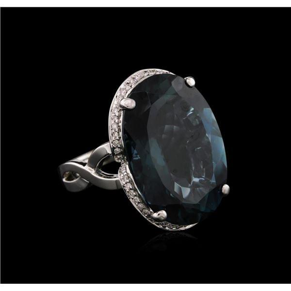 14KT White Gold 34.24 ctw Blue Topaz and Diamond Ring