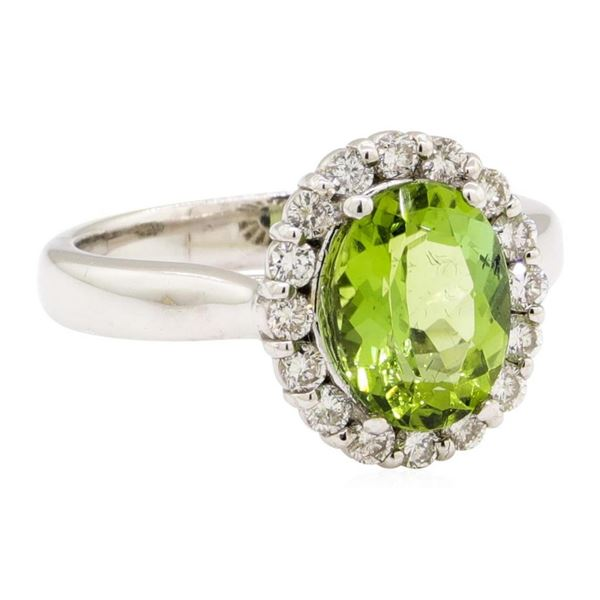 2.92 ctw Oval Mixed Green Tourmaline And Round Brilliant Cut Diamond Ring - 14KT