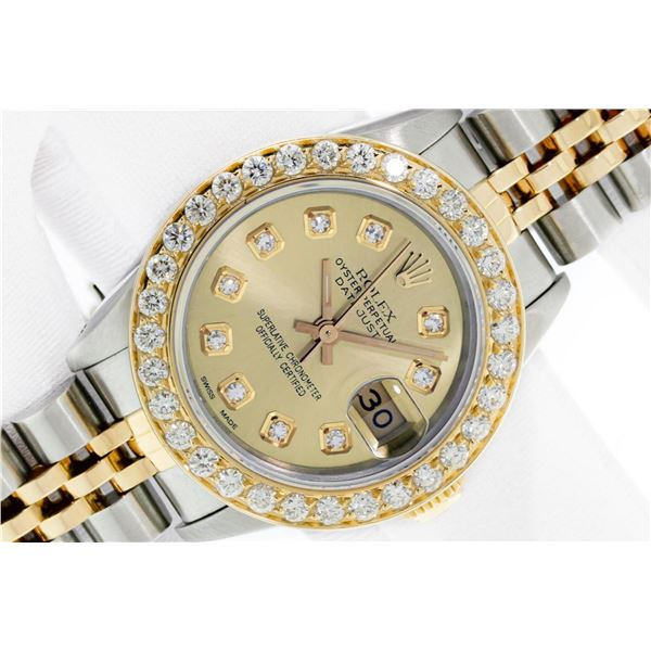 Rolex Datejust Ladies 26 Champagne VS Diamond 2 ctw Yellow Gold Bezel Box And Bo