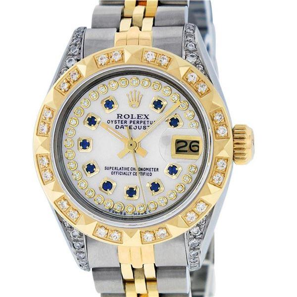 Rolex Ladies 2 Tone 18K MOP Sapphire String Diamond Lugs Datejust Wristwatch