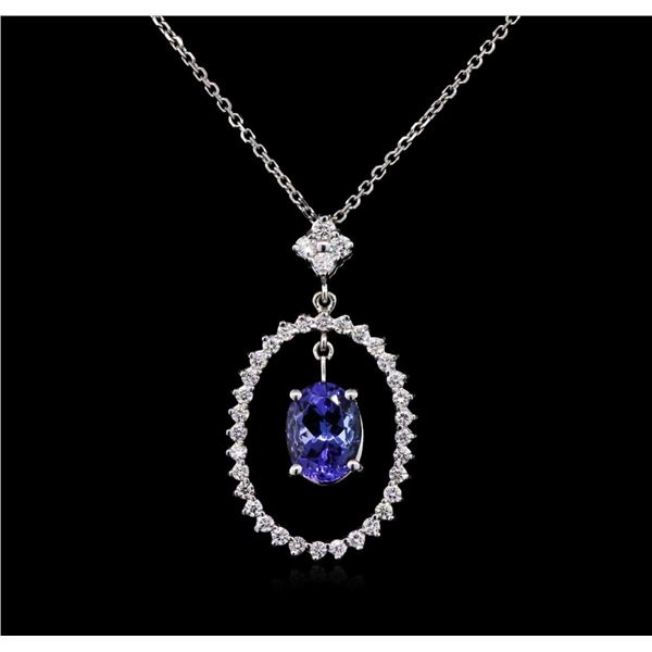 2.00 ctw Tanzanite and Diamond Pendant With Chain - 14KT White Gold