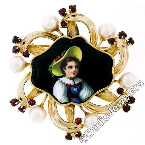 Vintage 14kt Gold Hand Painted Portrait, Garnet, & Pearl Open Frame Brooch