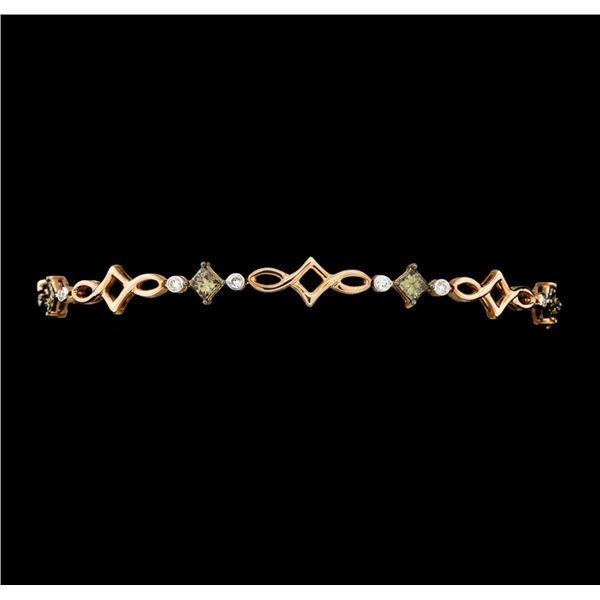 1.67 ctw Princess Cut Diamond And Round Brilliant Cut Diamond Bracelet - 14KT Ro