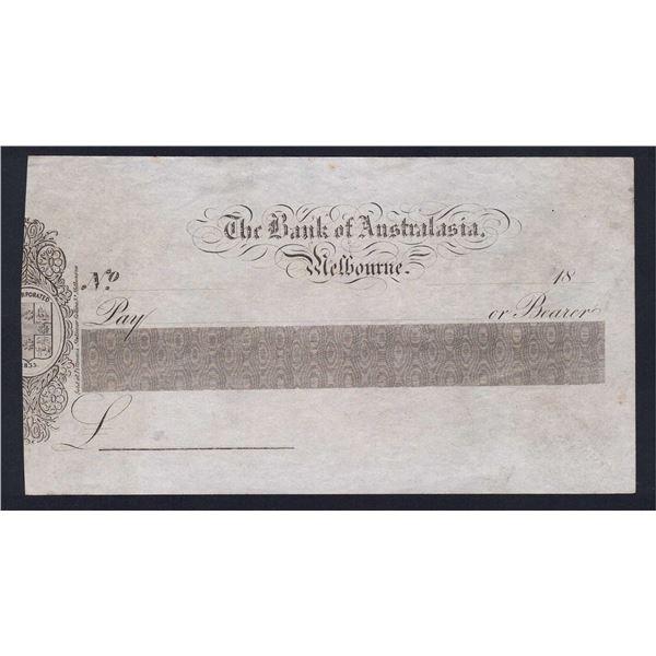 AUSTRALIA Bank of Australasia. Melbourne. 18- (Circa 1850). Unissued Cheque
