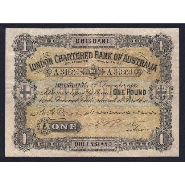AUSTRALIA London Bank of Australia. Brisbane. £1. 1.12.1887. Fully Signed & Issued Note