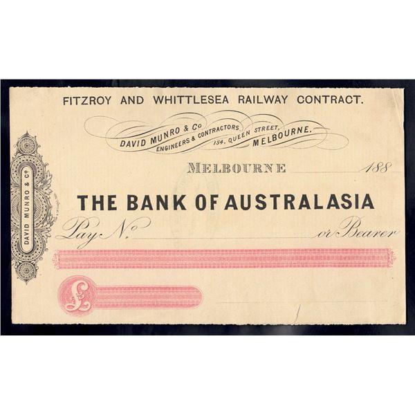 AUSTRALIA Bank of Australasia. Melbourne. 188-. Unissued Cheque