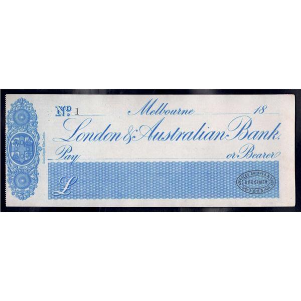"AUSTRALIA London & Australian Bank. Melbourne. 18- (1875). SPECIMEN CHEQUE NO.""1"""