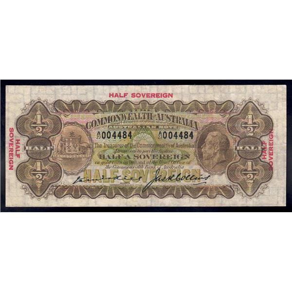 AUSTRALIA 10/-. 1926. Kell-Collins. George V Portait
