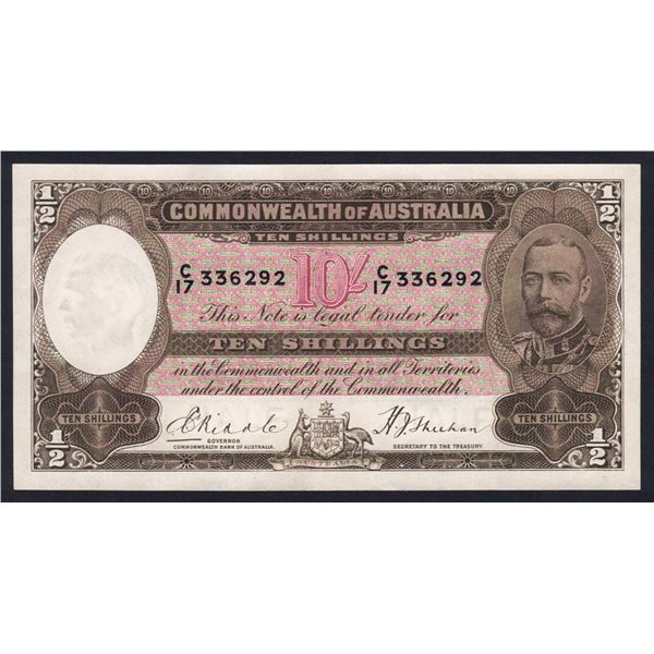 AUSTRALIA 10/-. 1933. Riddle-Sheehan. SCARCE ONE-YEAR TYPE NOTE