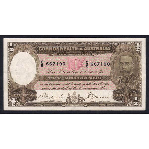AUSTRALIA 10/-. 1933. Riddle-Sheehan