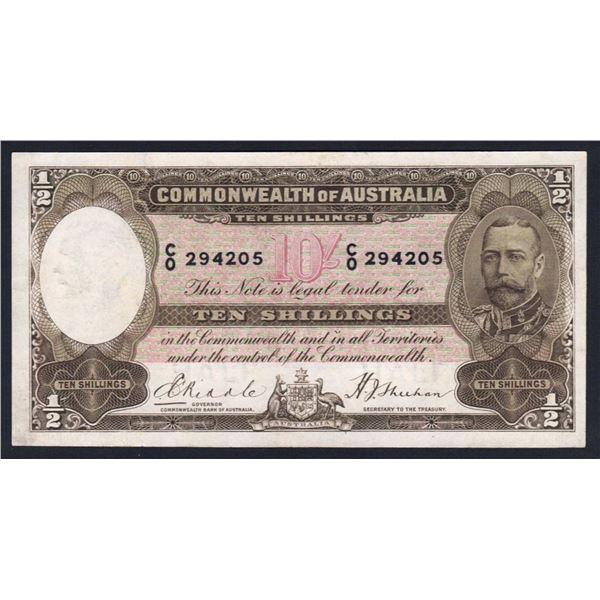 """AUSTRALIA 10/-. 1933. Riddle-Sheehan. RARE 1ST PREFIX """"C/0"""""""