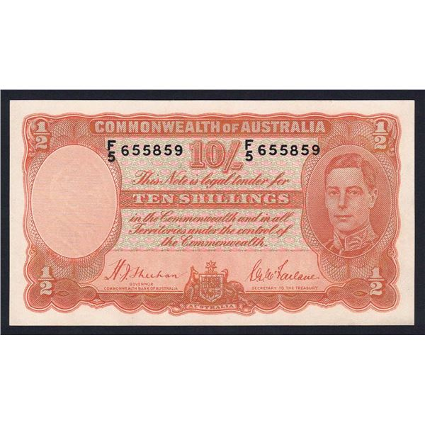 AUSTRALIA 10/-. 1939. Sheehan-McFarlane. Only George VI Issue with Orange Signatures